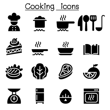 Cooking ingredient and Kitchen tools icons in a black silhouette illustration.
