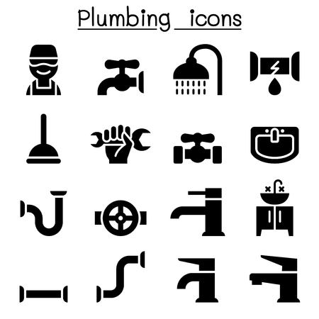 toilet: Plumbing icons set with various tools and accessories in black silhouette designs Illustration