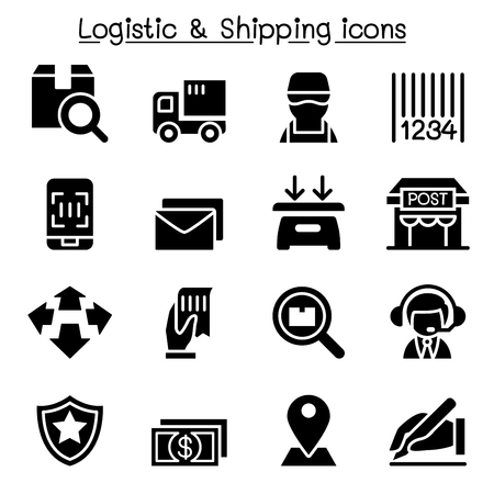 Logistic, Delivery & Shipping icons Çizim