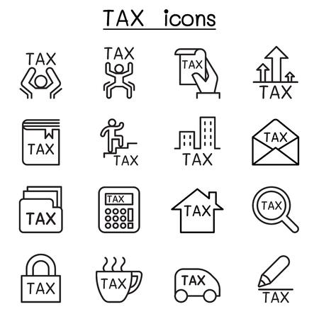 L'icône Tax est définie dans un style de ligne fine Banque d'images - 84128618