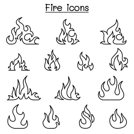 Fire icon set in thin line style