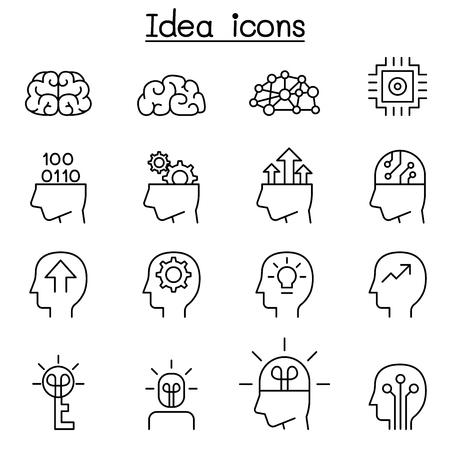 Idea & Creative icon set in thin line style