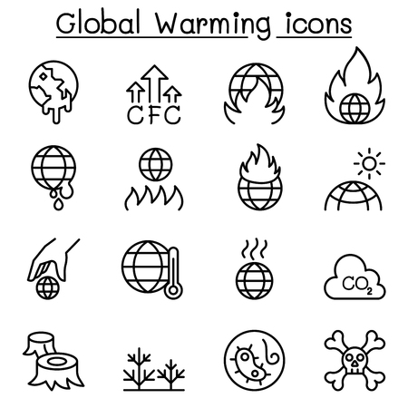 cfc: Global Warming icon set in thin line style
