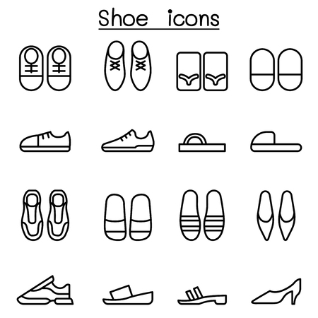loafer: Shoes icon set in thin line style