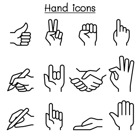 Hand icon set in thin line stlye