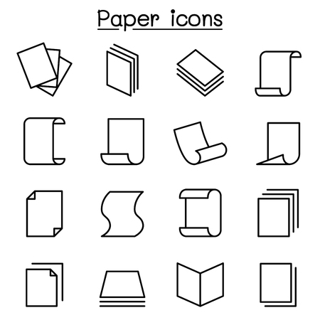 Paper icon set in thin line style