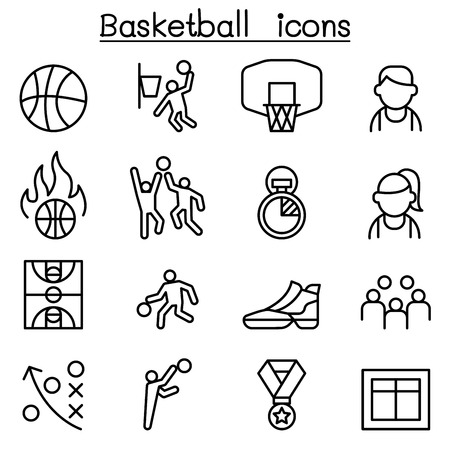 Basketball icon set in thin line style