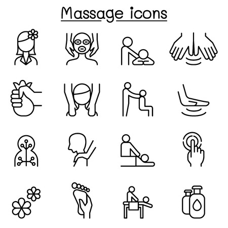 Massage & Spa icon set in thin line style