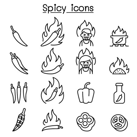 Chili & Spicy icon set in thin line style Illustration