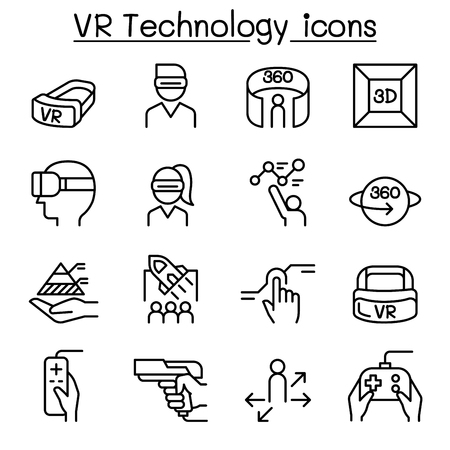 Set of VR icons. 向量圖像