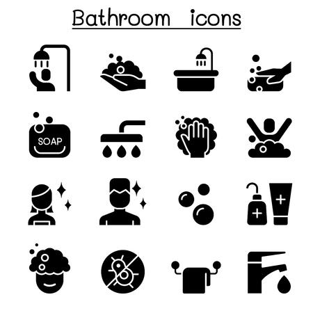 Jeu d'icônes de salle de bains design graphique illustration vectorielle