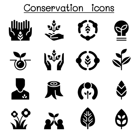 Eco friendly & Conservation icon set Vector graphic design