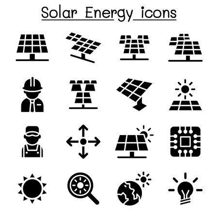 Solar energy industrial icon set