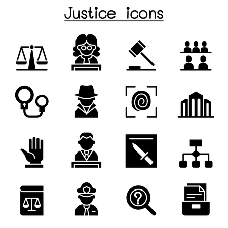 Justice , Law, Court, legal icon set