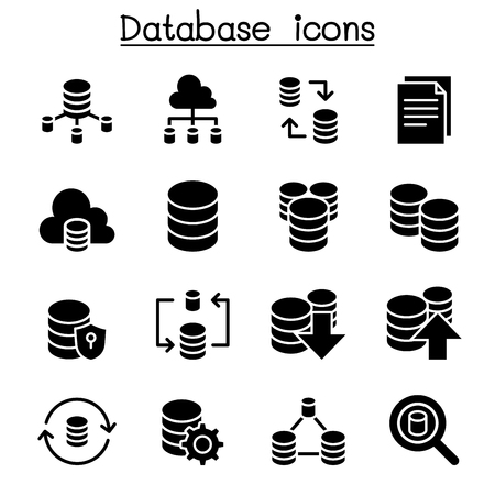 Server, Database, Hosting, Sharing, Cloud computing icon set