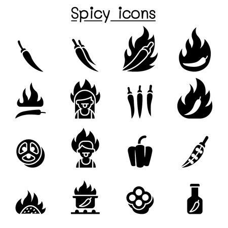 Chili & Spicy icon set vector illustration graphic design