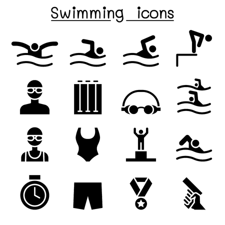 Swimming icon set vector illustration graphic design Vettoriali