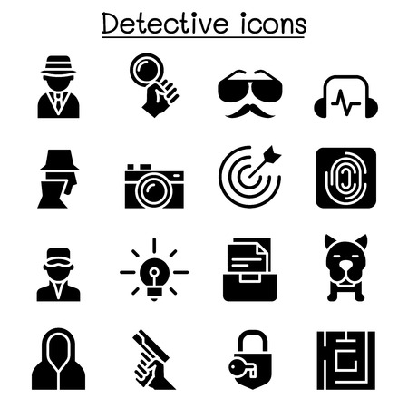 Detective icon set vector illustration graphic design  イラスト・ベクター素材
