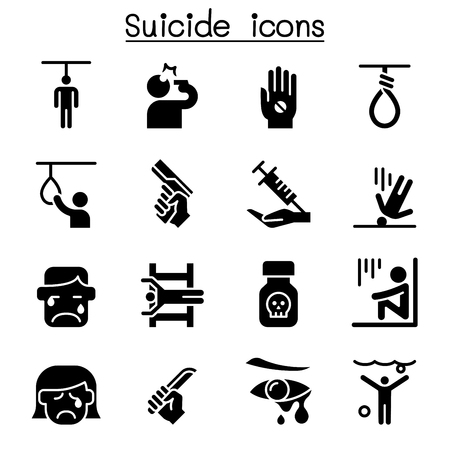 Suicide icon set