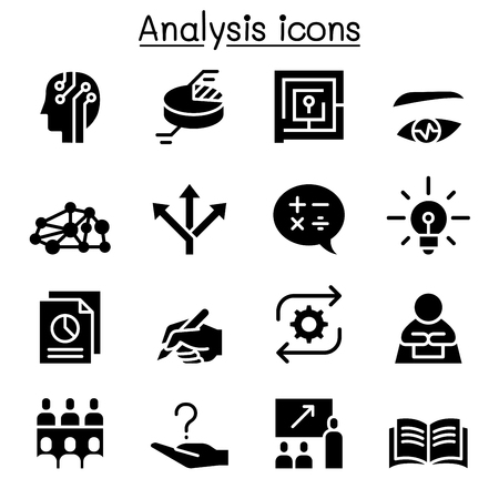 Divers style d & # 39 ; analyse notion icône ensemble en noir et blanc illustration Banque d'images - 94304727