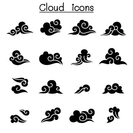 Various Icon Set of Abstract Cloud  design in black and white vector illustration Illusztráció