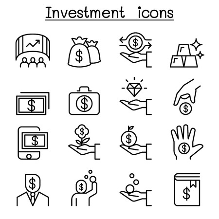 Investment icon set in thin line style illustration.