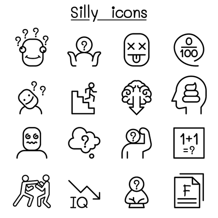 Stupid, foolish, Silly icon set in thin line style Ilustração