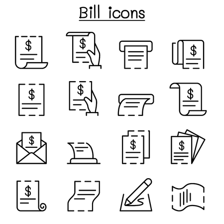Bill, receipt, invoice, contract icon set in thin line style. 矢量图像