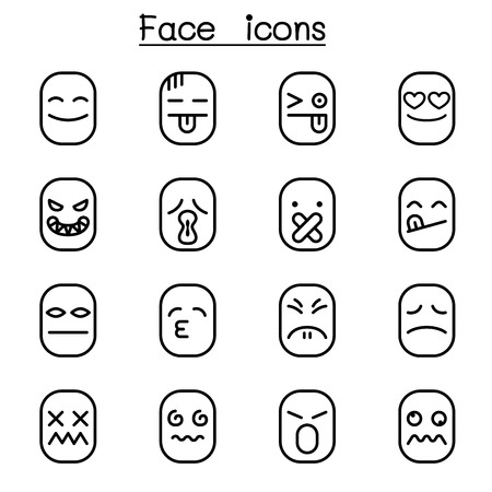Face icon set in thin line style illustration.