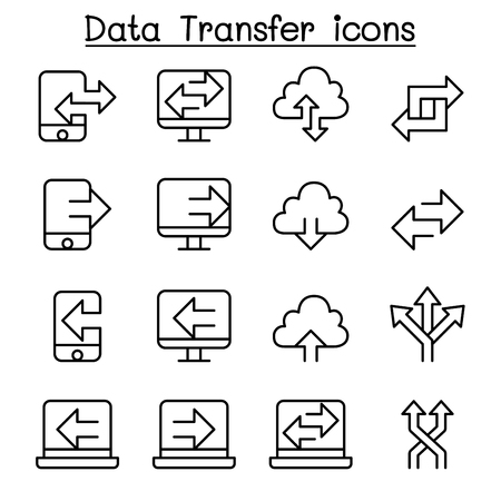 Computer Data Transfer icons set in thin line style Vector illustration.