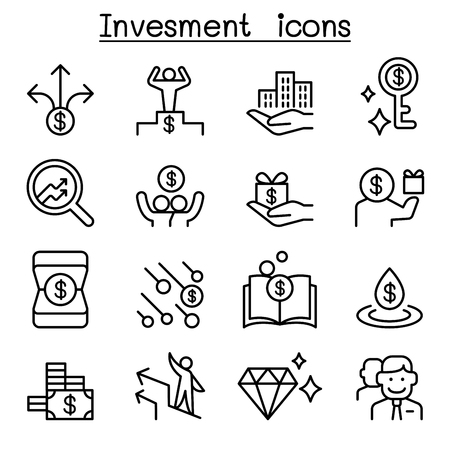 Money and investment icon set in thin line illustration.