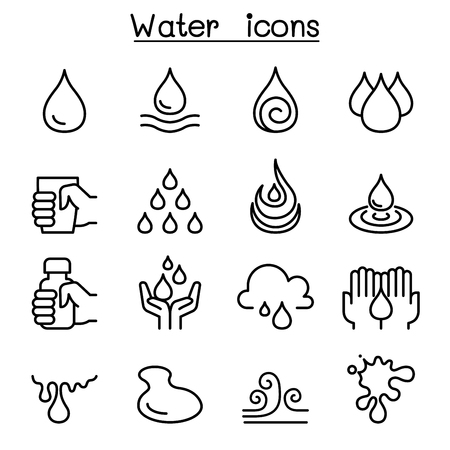 Water icon set in thin line style Vector illustration.