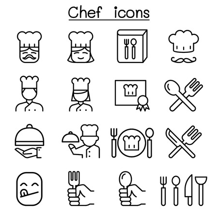 Chef icon set in thin line style Vector illustration. Illustration