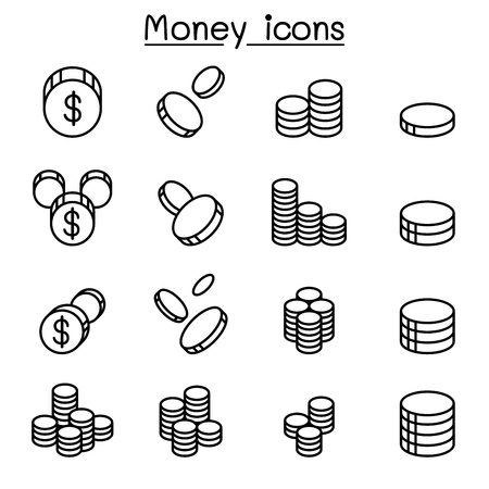 Money & Coin icon set in thin line style