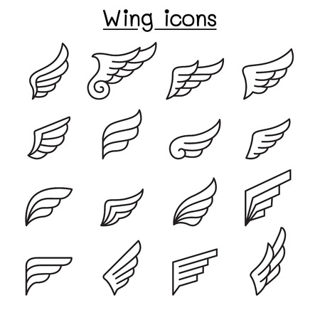 Wing icon set in thin line style