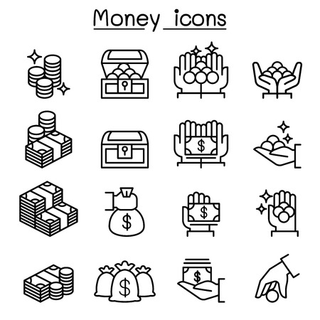 Money, Coin, Cash icon set in thin line style