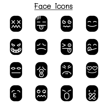 Face icon set Stock Vector - 104149929