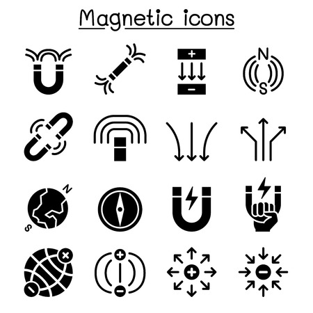 Magnet icon set Stock Illustratie