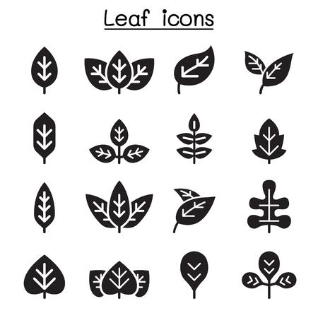 Conjunto de iconos de hoja Ilustración de vector