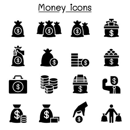 Money, Cash, Bank note, coin icon set