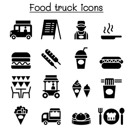 Food truck icon set Illustration