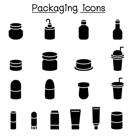 Packaging icon set Illustration