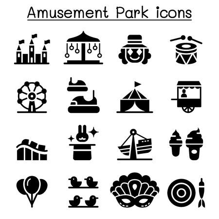 Amusement park & Festival icon set Illustration