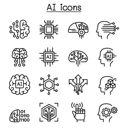 AI, icona di intelligenza artificiale impostata in stile linea sottile Vettoriali