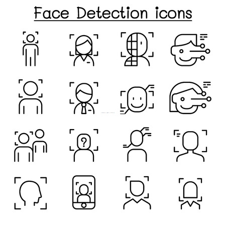 Face Detection, Recognition icon set in thin line style
