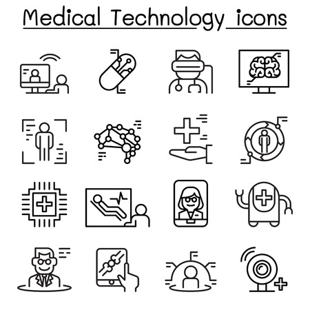 Futuristic medicine, medical Technology icon set in thin line style Illustration