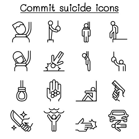 Commit suicide icon set in thin line style