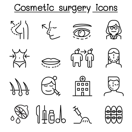 Cosmetic Surgery , Surgical operation icon set in thin line style