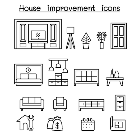 Furnitures , Home decorate items icon set in thin line style