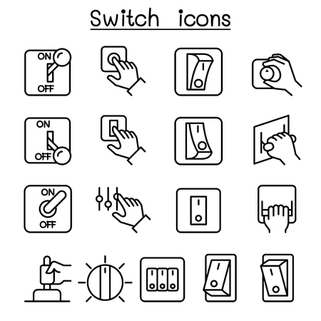 Switch icon set in thin line style